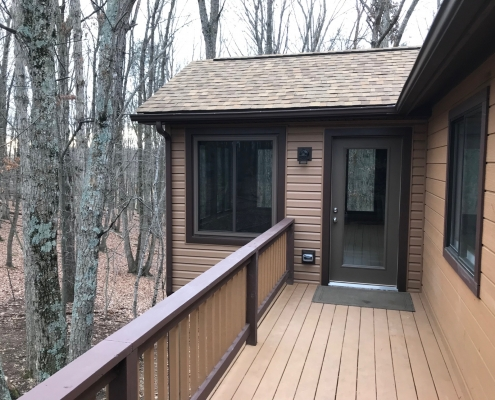 brown deck ;eating to door to new sunroom