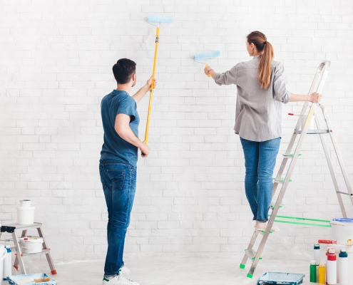 Couple doing home improvement project